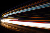 Light tralight trails in tunnel. Long exposure photo in a tunel — Stock Photo