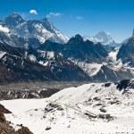 Famous peaks Everest, Lhotse, Nyptse at sunny day. Himalayas — Stock Photo #55317857