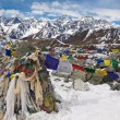 Prayer flags at the Cho La Pass. Himalayas. Nepal — Stock Photo #55317863