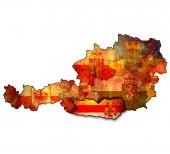Carinthia on map of austria — Stock Photo