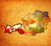 Tirol on map of austria — Stock Photo