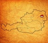 Vienna on map of austria — Stock Photo