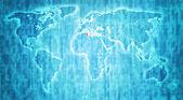 Tunisia territory on world map — Stock Photo