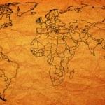 Ireland territory on world map — Stock Photo #73843219