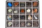Set, a collection of rocks, minerals in the box — Stock Photo