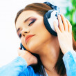 Music woman. Girl listening music with headphones. — Stock Photo #53969831