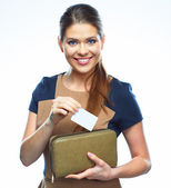 Business woman hold credit card — Stock Photo