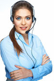 Call center operator consultant talking with microphone — Stock Photo