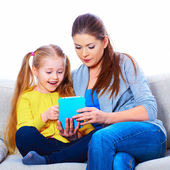 Child home education with tablet PC. — Stock Photo
