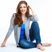 Woman posing on white floor. — Stock Photo