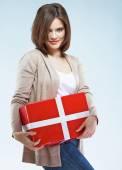 Happy woman holding giftbox — Stock Photo