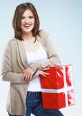 Happy woman holding giftbox. — Stock Photo