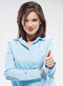 Obchodní žena ukazuje palec. — Stock fotografie
