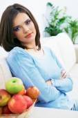 Beautiful young woman  at home. — Stock Photo