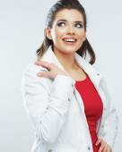 Woman in white jacket — Stock Photo