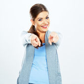 Woman pointing at camera by fingers. — Stock Photo