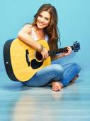 Teenager girl guitar play — Foto Stock