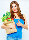 Smiling Happy woman hold green vegan food. — Stock Photo