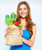 Happy woman hold green vegan food. — Stock Photo