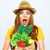 Woman with green vegan food — Stock Photo