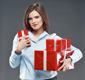 Office worker hold red gift. — Stock Photo