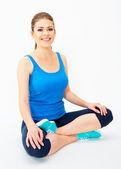 Yoga pose içinde oturan kadın — Stok fotoğraf