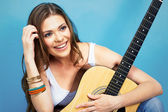 Happy woman portrait with guitar — Stock Photo