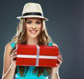 Joyful woman hold present. — Stock Photo