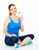 Woman holding bottle of water . — Foto Stock