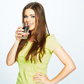 Girl drink water from glass — Stock Photo