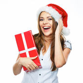 Smiling young woman with gift box. — Stock Photo