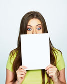 Woman hold white banner in face — Stock Photo