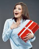 Office worker woman hold red gift. — Stock Photo