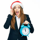 Young businesswoman hold big watch — Stock Photo