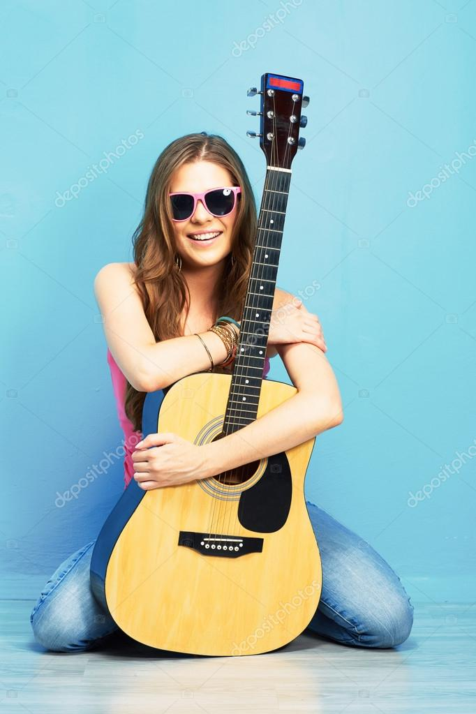 Girl Acoustic Guitars : cute girl with acoustic guitar stock photo sheftsoff 57951229 ~ Vivirlamusica.com Haus und Dekorationen