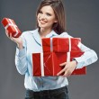 Happy woman holds gift boxes — Stock Photo #60938315