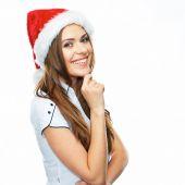Girl in Santa hat and white shirt — Stock Photo