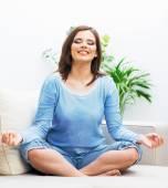 Woman in yoga pose — Stock Photo