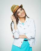 Woman with hat in blue dress — Stock Photo
