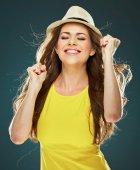 Woman in yellow dress — Stock Photo