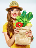 Woman holding vegan food — Foto Stock