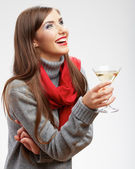 Smiling woman drinks martini — Stock Photo