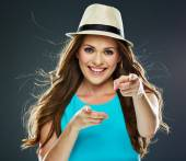 Woman points fingers at camera — Stock Photo