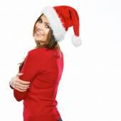 Smiling girl in Santa hat — Stock Photo