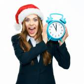 Shocked businesswoman holds watch — Stock Photo