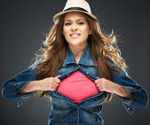 Woman ripping clothes on chest — Stockfoto