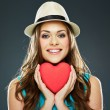 Smiling woman with heart — Stockfoto #64563351