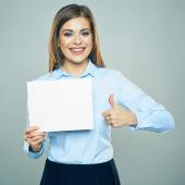 Businesswoman with board and thumb up — Stock Photo