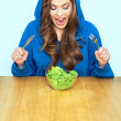 Woman ready to eat salad — Stock Photo #68632943