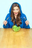 Woman ready to eat salad — Stock Photo